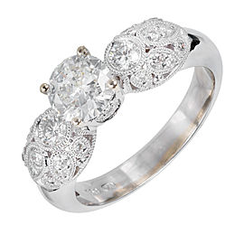 18K White Gold 1.31ct Diamond Pave Ring Size 7