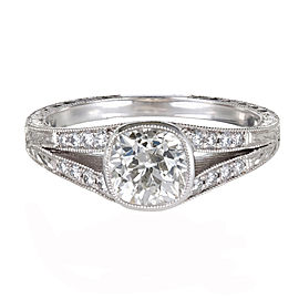 950 Platinum with Diamond Split Shank Engagement Ring Size 6.25