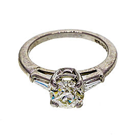 Platinum 0.90ct Old European Cut Diamond Vintage Engagement Ring Size 5.5