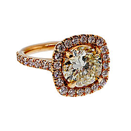 18K Pink Gold with 3.04ct Diamond Ring Size 6
