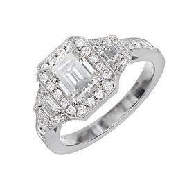 Vintage Art Deco Platinum with 1.11ct Diamond Engagement Ring Size 6