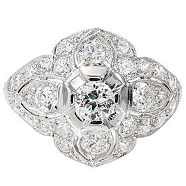 Platinum 1.31ct Diamond Dome Ring Size 6.25
