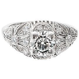Vintage Edwardian Platinum Transitional Cut Diamond Art Deco Ring Size 6