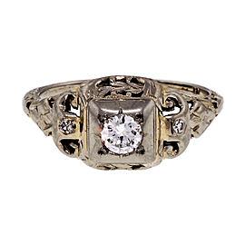 Art Deco 18K White Gold 0.21ct Diamond Filigree Ring Size 6.75