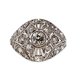 Vintage Platinum Old Mine Cut Diamond Art Deco Pierced Dome Ring Size 6