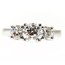 Platinum 1.76ct Diamond 3 Stone Ring Size 6.5
