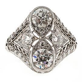 Vintage Edwardian Platinum with 1.62ct Filigree Diamond Ring Size 7