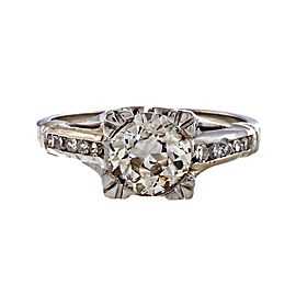 Art Deco Platinum 1.01ct Light Brown Diamond Ring Size 4.75