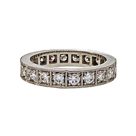 Platinum 1.00ct Diamond Eternity Bead Band Ring Size 6