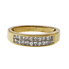 14k Yellow Gold 1.20ctw Two Row Princess Cut Diamond Band Ring Size 6.75