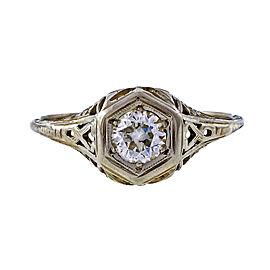 Vintage 18K White Gold 0.40ct Diamond Filigree Ring Size 8.5