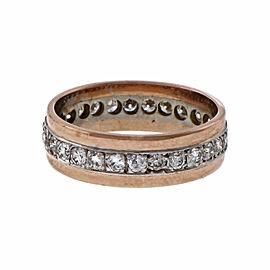 Vintage 14K Pink Gold & Palladium 1.25ct Diamond Eternity Band Ring Size 8.5