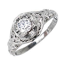 Vintage 18K White Gold 0.25ct Diamond Ring Size 6.5