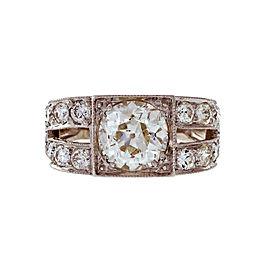 Vintage Platinum Edwardian 1.75ctw Old Mine Brilliant Cut Diamond Engagement Ring Size 6.5