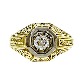 Vintage 14k Yellow Gold 0.25ct Old European Cut Diamond Ring Size 7.25 1910