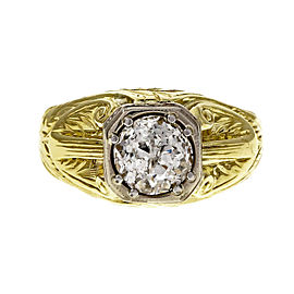 Vintage 14k Yellow & White Gold Old European Brilliant Cut 1.32ct Diamond Ring Size 8