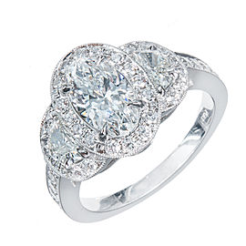 Platinum Half Moon Triple Halo Pave 1.06ct Diamond Engagement Ring Size 6