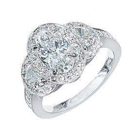 Platinum Half Moon Triple Halo Pave 1.06ct Diamond Engagement Ring Size 6