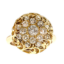 Vintage 1900 14K Yellow Gold with 1.75ct Diamond Dome Ring Size 7