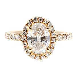 18K Rose Gold 1.23ct Diamond Halo Ring Size 5.25