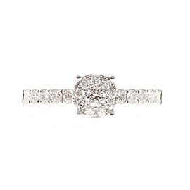 18K White Gold 0.39ct Diamond Halo Ring Size 6.75