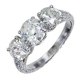 Platinum with 3 Stone Old European Cu Diamond Ring Size 6