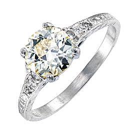 Vintage Platinum with 0.92ct Light Yellow Diamond Engagement Ring Size 5