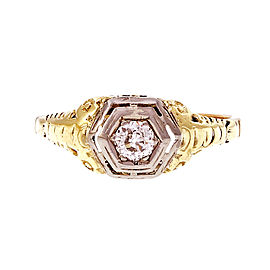 14k Yellow and White Gold Vintage Filigree Diamond Engagement Ring Size 10