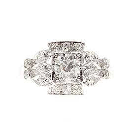 Vintage Art Deco Platinum With 0.57ct Diamond Ring Size 6.5