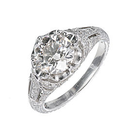 Vintage Platinum with 1.79ct Faint Brown Diamond Ring Size 7