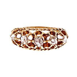 14k Yellow Gold Victorian 1870 Rose Cut Diamond Ring Size 8