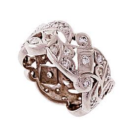 Vintage Platinum Diamond Wide Band Ring Size 6.25