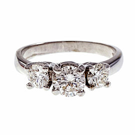 14K White Gold 0.50ct Diamond Three Stone Ring Size 5.25