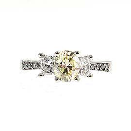 14K White Gold Yellow Diamond Ring Size 7.5