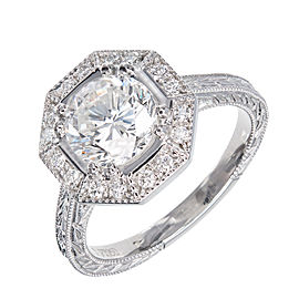 Platinum Octagonal Halo Diamond Engagement Ring Size 6.5