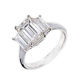 Platinum Emerald Step Cut Diamond Engagement Ring Size 6.75