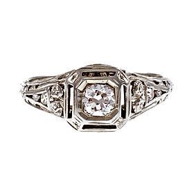 Vintage 18K White Gold 0.25ctw. Diamond Filigree Engagement Ring Size 6.5