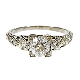 Platinum Old European Cut Diamond Engagement Ring Size 6.25
