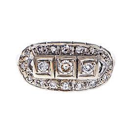 Vintage 14k White Gold Diamond Dome ring Size 6