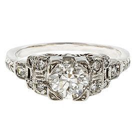 Platinum Old European Cut Diamond Engagement Ring Size 5.75
