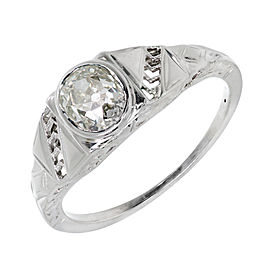 18K White Gold Art Deco Diamond Ring Size 6.25