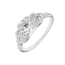 Platinum Old European Cut Diamond Art Deco Engagement Ring Size 6
