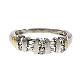 Platinum and 18K Yellow Gold with Diamond Wedding Band Ring Size 6