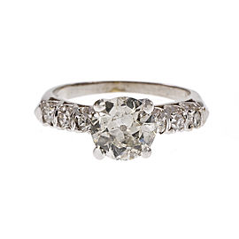 Platinum Old European Cut Diamond Engagement Ring Size 4.75