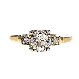 14K Yellow Gold and Platinum with Diamond Engagement Ring Size 7.25