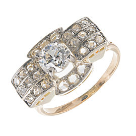 Vintage 18K Yellow Gold and 925 Sterling Silver 0.98ct Old European & 0.60ct Rose Cut Diamond Ring Size 7.75