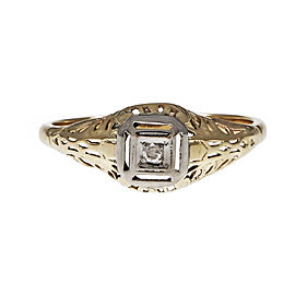 Vintage 14K Rose & White Gold with 0.01ct Diamond Engagement Ring Size 7.25