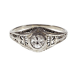 18K White Gold Diamond Ring Size 9
