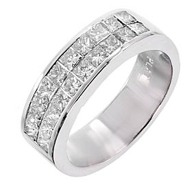 Platinum Princess Cut 2 Row Diamond Wedding Band Ring Size 7.75