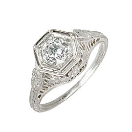Art Deco Platinum .52ct Diamond Engagement Ring Size 5